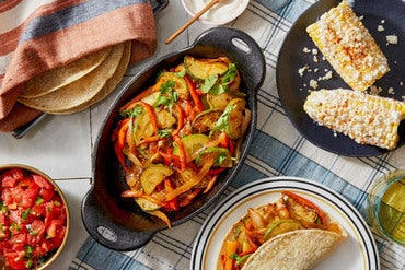 Sweet Pepper & Summer Squash Fajitas with Spiced Elote