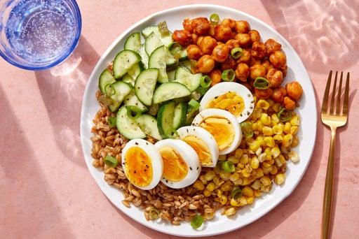 BBQ Chickpeas & Farro with Corn, Cucumbers & Hard-Boiled Eggs