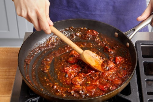Make the tomato pan sauce & serve your dish