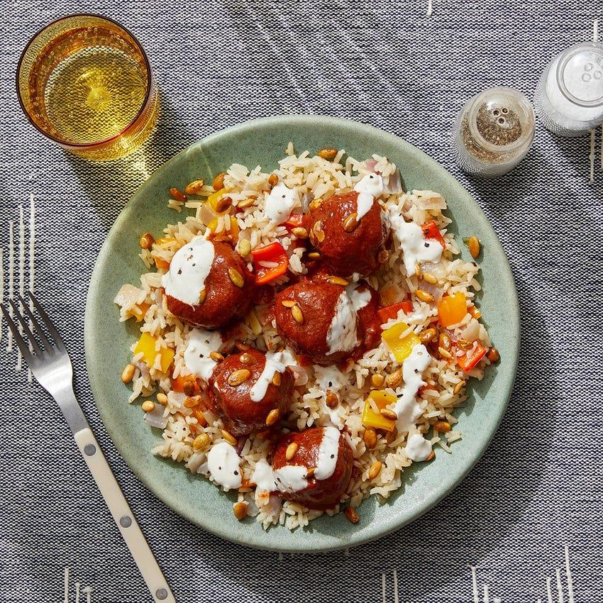 Pork Chorizo Meatballs & Pepper Rice with Chipotle-Peanut Sauce