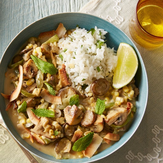 Spicy Summer Vegetable Curry with Toasted Coconut & Cilantro Rice