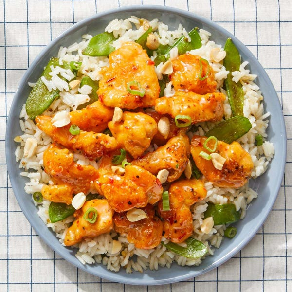 Sweet & Spicy Chicken Stir-Fry with Rice & Snow Peas