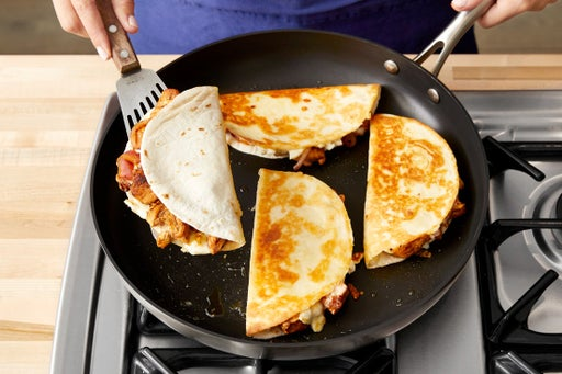 Cook the quesadillas