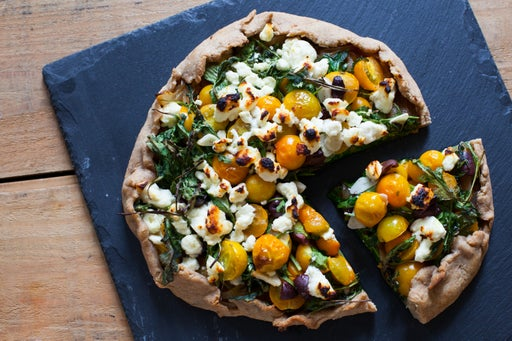 Caramelized Onion & Heirloom Tomato Crostata with Feta Cheese & Arugula