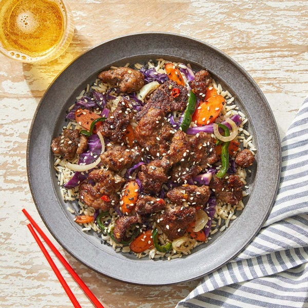 Spicy Beef & Vegetables with Rice & Sesame Seeds