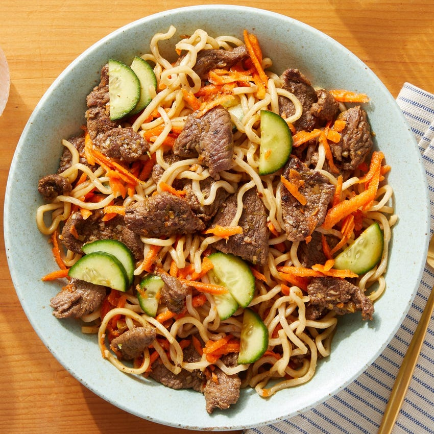 Chilled Lemongrass Beef & Noodles with Marinated Carrots  & Cucumbers