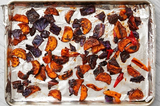 Roast the sweet potatoes, cabbage & sweet peppers: