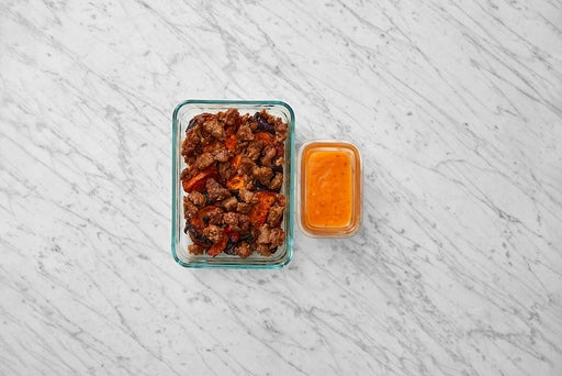 Assemble & Store the Beyond Beef™ & Spicy Vegetables: