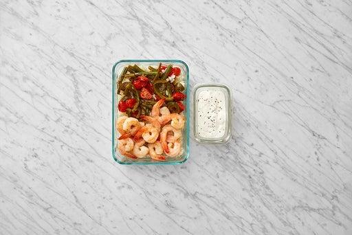 Assemble & Store the Shrimp & Tomatillo Rice: