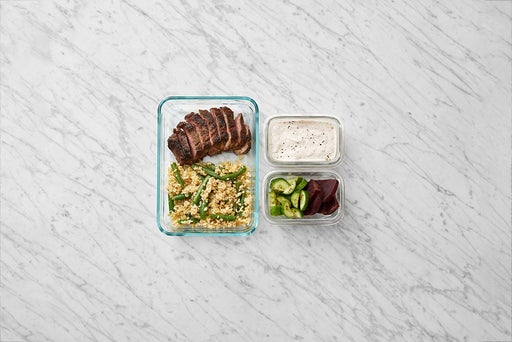 Assemble & Store the Spiced Steaks & Ranch Sour Cream: