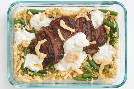 Finish & Serve the Spiced Steaks & Ranch Sour Cream: