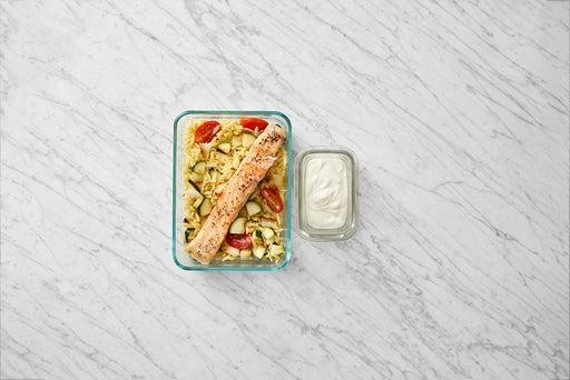 Assemble & Store the Salmon & Orzo Pasta: