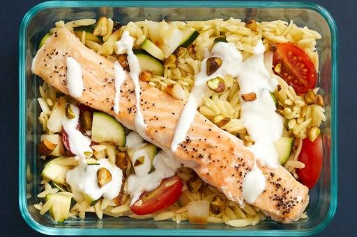 Finish & Serve the Salmon & Orzo Pasta: