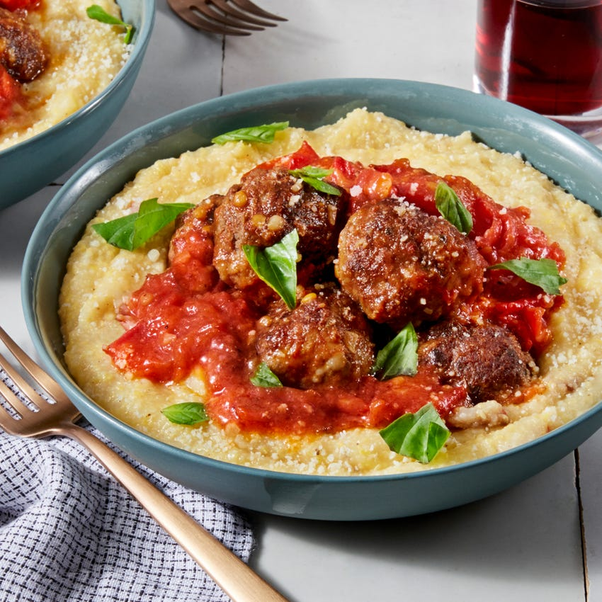 Meatballs & Polenta with Heirloom Tomato Sauce