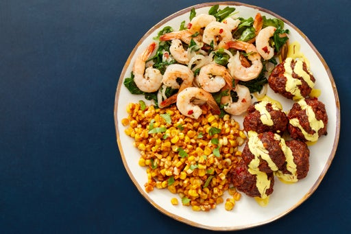 Garlic Shrimp & Chorizo Meatballs with Saffron Mayo & Romesco-Dressed Corn