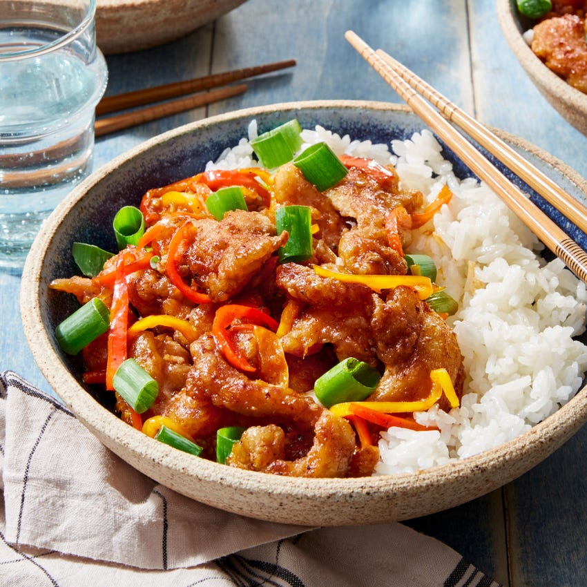 General Tso's Chicken with Sweet Peppers & Jasmine Rice