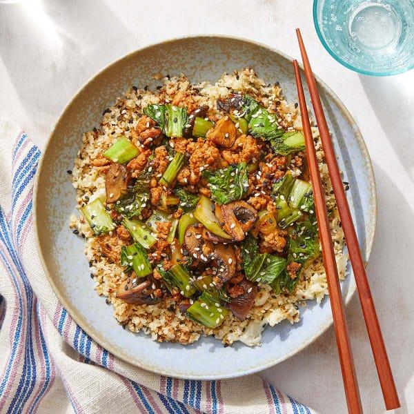 Turkey & Mushroom Stir-Fry with Cauliflower Rice & Spicy Soy-Miso Sauce