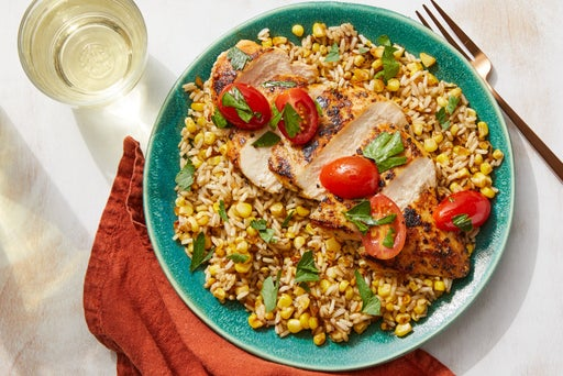 Chicken & Brown Butter Rice with Corn & Tomatoes