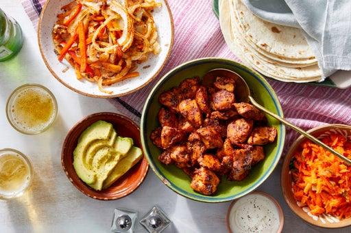 Ancho-Honey Chicken Fajitas with Roasted Vegetables & Avocado