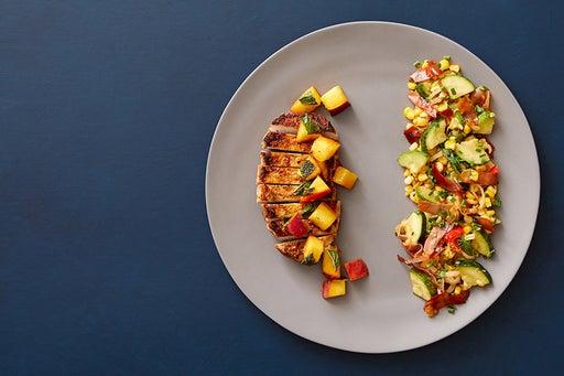 Southern-Style Pork & Marinated Nectarine with Prosciutto & Corn Sauté