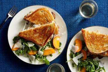 Mushroom Grilled Cheese Sandwiches with Nectarine Salad