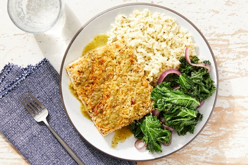 Pepita & Panko-Crusted Tofu with Rice & Tomatillo-Poblano Sauce