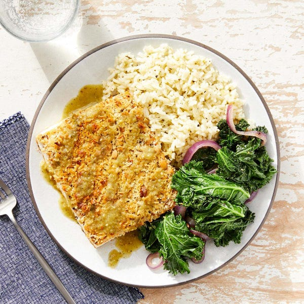 Pepita & Panko-Crusted Tofu with Rice & Tomatillo-Poblano Sauce