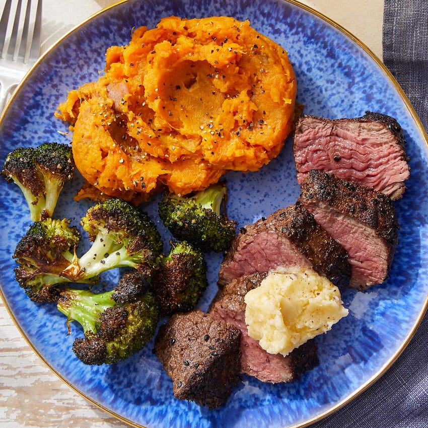 Spiced Steak & Honey Butter with Mashed Sweet Potatoes & Lemon-Dressed Broccoli