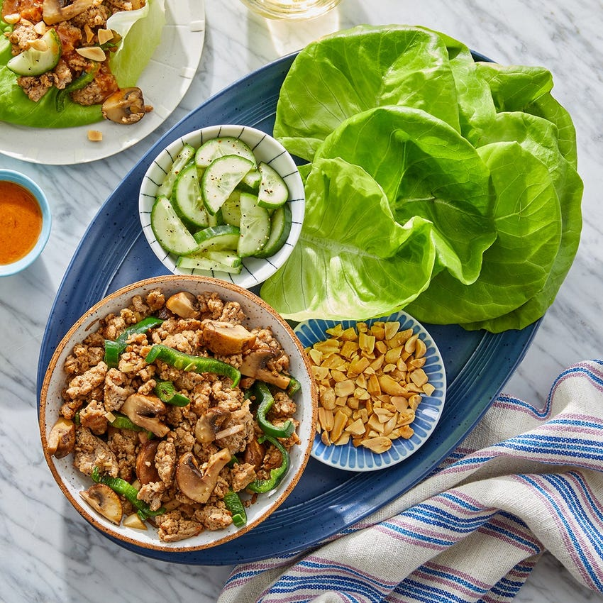 Turkey & Mushroom Lettuce Cups with Peanut-Soy Sauce