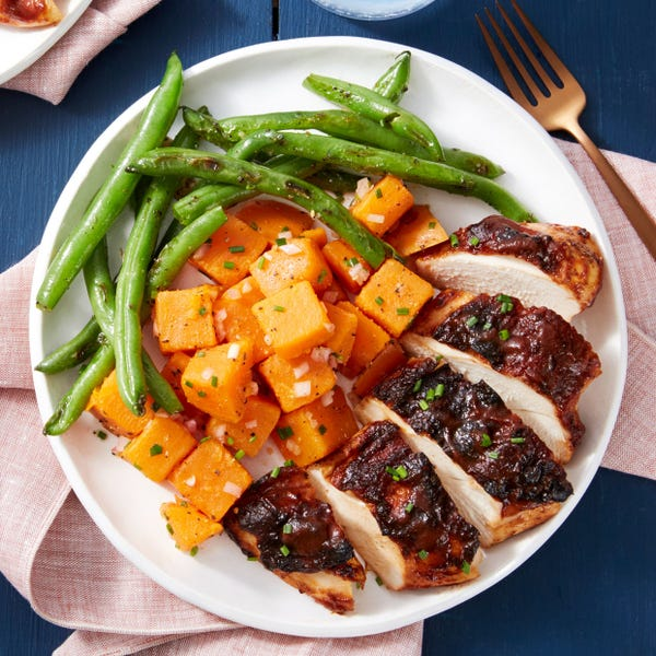 BBQ Baked Chicken with Sweet Potato Salad & Garlicky Green Beans