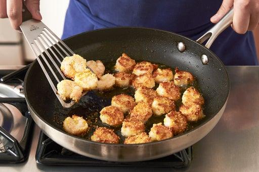 Coat & cook the shrimp: