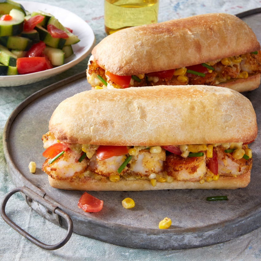 Cornmeal-Crusted Shrimp Po' Boys with Tomato & Cucumber Salad