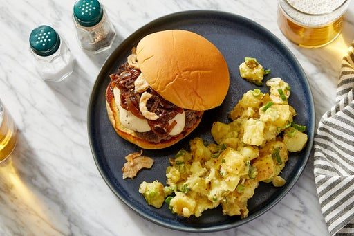 French Onion Soup Burgers with Creamy Mustard Potato Salad