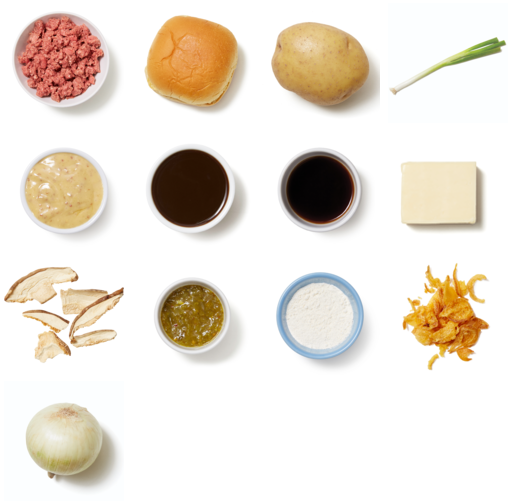 French Onion Soup Burgers with Creamy Mustard Potato Salad
