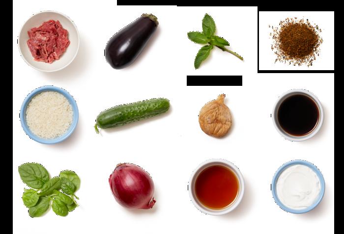 Sautéed Beef & Roasted Eggplant with Spiced Rice & Cucumber Salad