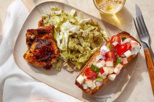 Greek-Style Chicken Thighs & Bruschetta with Za'atar-Honey Slaw