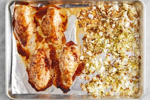 Roast the chicken & cabbage