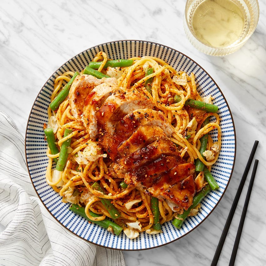 Glazed Chicken & Peanut Noodles with Cabbage & Green Beans