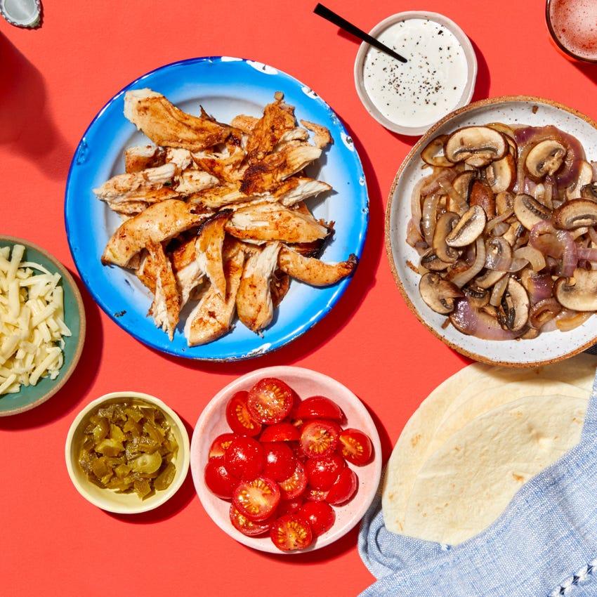 Chipotle-Lime Chicken Fajitas with Sautéed Mushrooms & Onion
