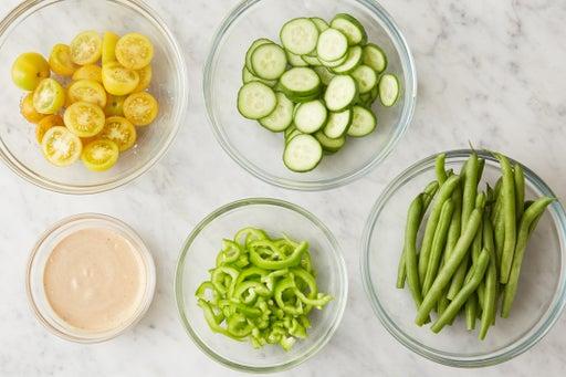 Prepare the ingredients & make the black bean mayo: