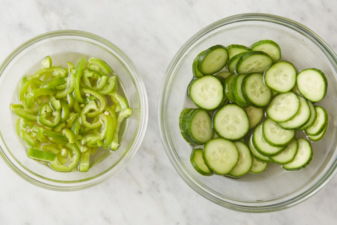 Pickle the cucumber & pepper: