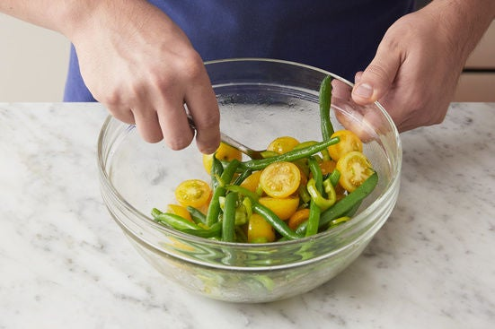 Cook the green beans & make the salad: