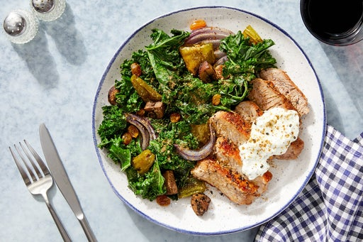Seared Pork Chops & Tzatziki with Mushrooms, Kale & Shishito Peppers