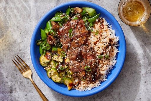 Korean-Style Steak & Rice Bowls with Mushrooms, Bok Choy & Snap Peas
