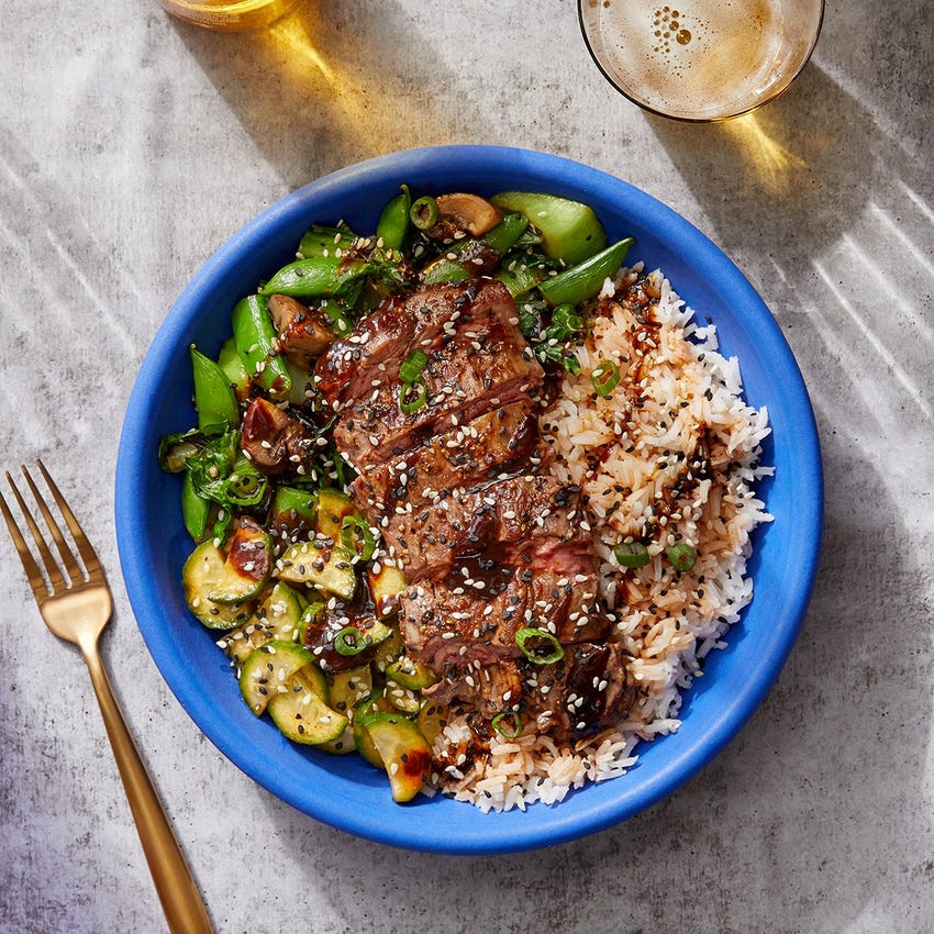 Korean-Style Steak & Rice Bowls with Mushrooms, Bok Choy & Snap Peas