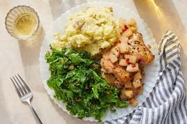 Seared Chicken & Nectarine Chutney with Mashed Potatoes & Sautéed Kale