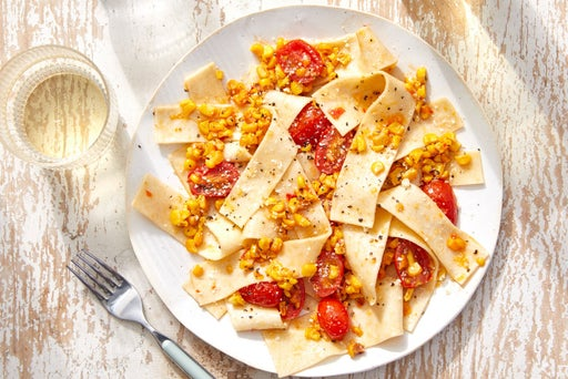 Hand-Cut Pappardelle with Corn, Tomatoes & Parmesan