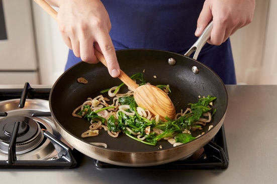 Cook the spinach & finish the vegetables: