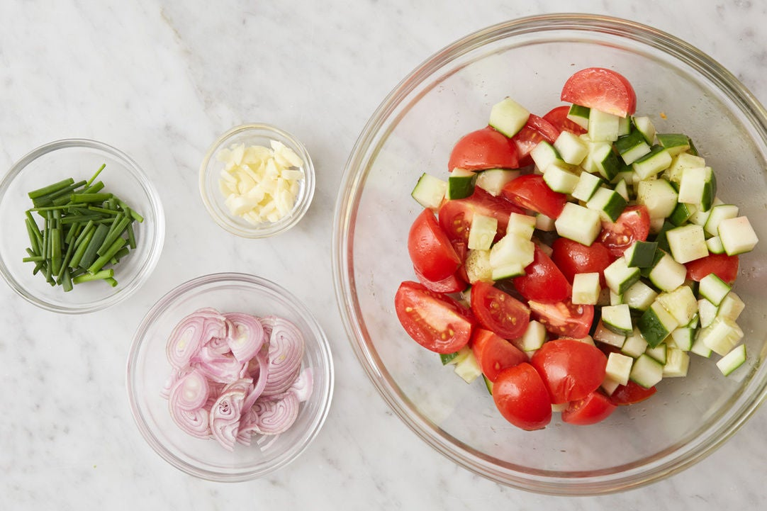 Prepare the ingredients & season the vegetables: