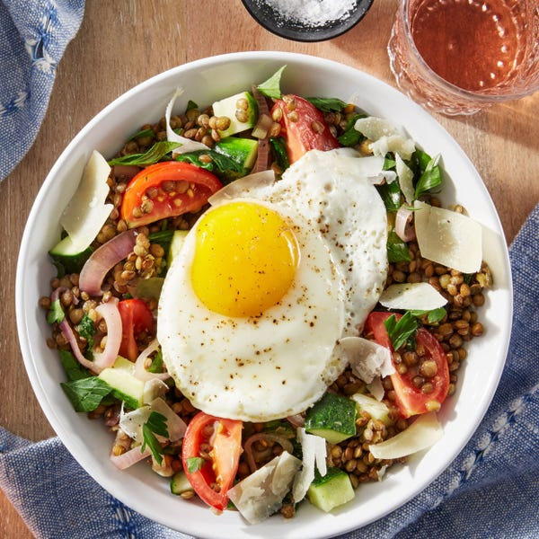 Fried Eggs & French Green Lentils with Tomatoes & Mustard Dressing